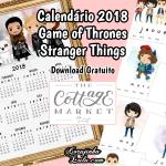 Calendário 2018 Grátis das Séries Stranger Things e Game of Thrones