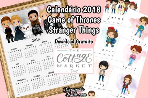 Calendario Stranger Things.Arquivos Mimos Corujinha Lulu