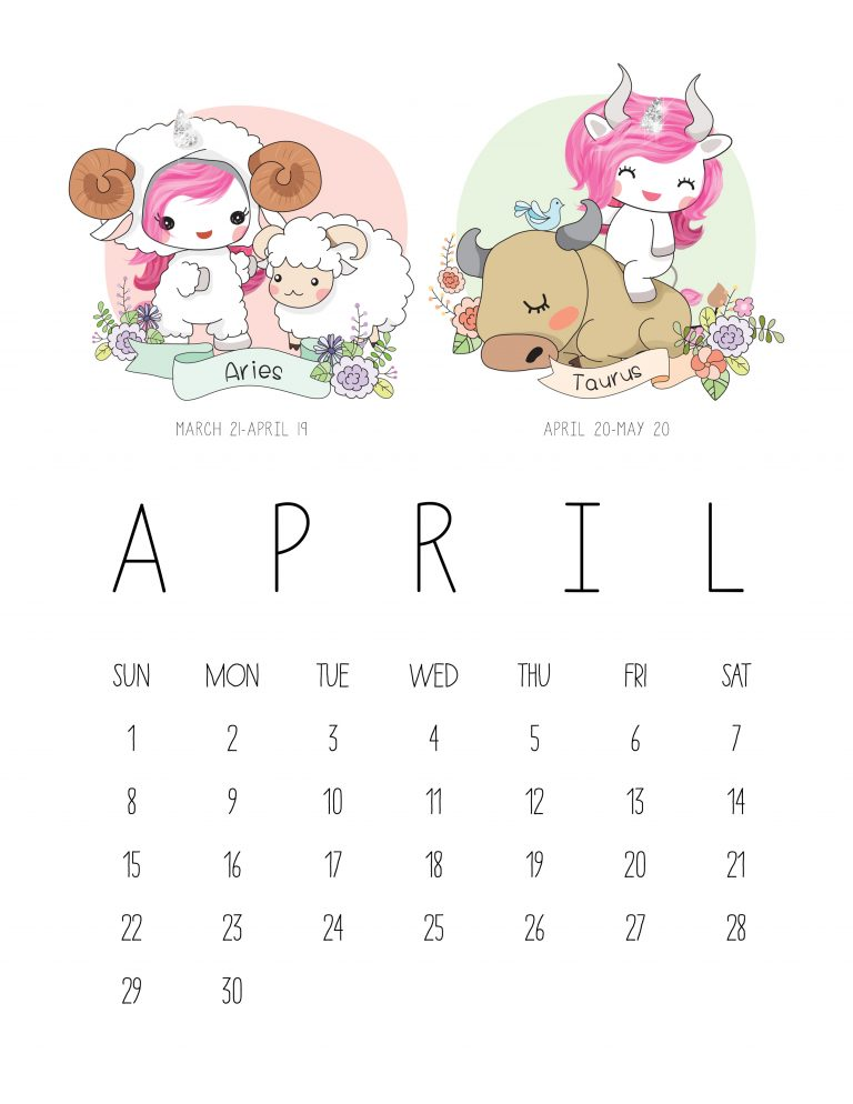 Calendário 2018 Kawaii de Sereia + Unicórnio + Signos do Zodíaco (Grátis) | ©CorujinhaLulu.com geek pop cultura planner corujinha lulu corujinhalulu ariel disney cute fofo fofura fofos download gratuito de graça unicórnio unicorn signo do zodíaco signos aries touro