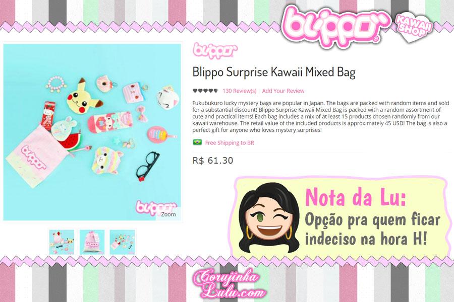 Blippo Surprise Kawaii Mixed Bag, uma sacola cheia de coisinhas super fofas (loja kawaii)