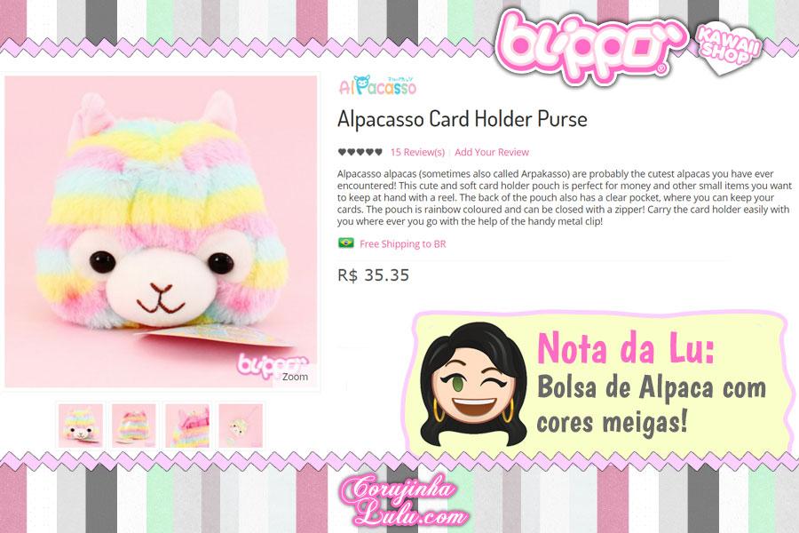 Alpacasso Card Holder Purse, uma pequena bolsinha de Alpaca / Lhama de arco-íris pra guardar cartões e pequenos itens no maior estilo kawaii