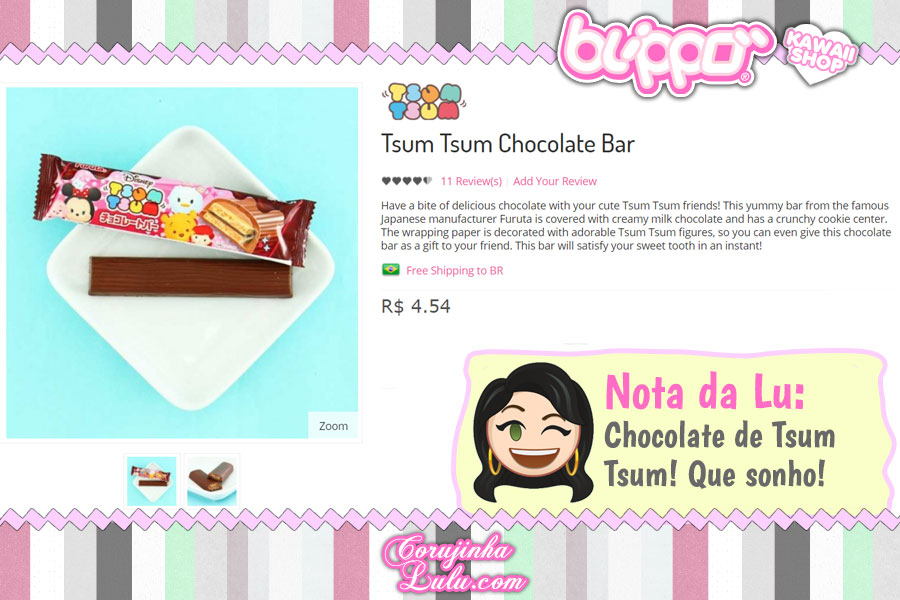 Tsum Tsum Chocolate Bar, barra de chocolate com a versão kawaii dos personagens Disney (loja kawaii Blippo)
