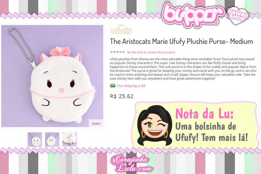 The Aristocats Marie Ufufy Plushie Purse, bolsinha de pelúcia da gatinha queridinha da Disney.