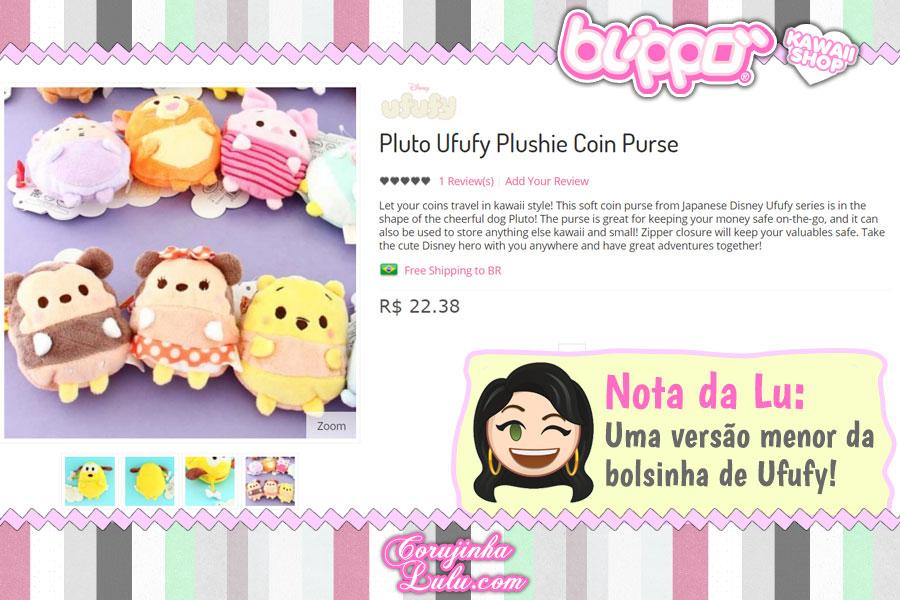 Disney Ufufy Plushie Coin Purse, bolsinhas com fecho em zíper para guardar pequenos itens (exclusividade do Japão)