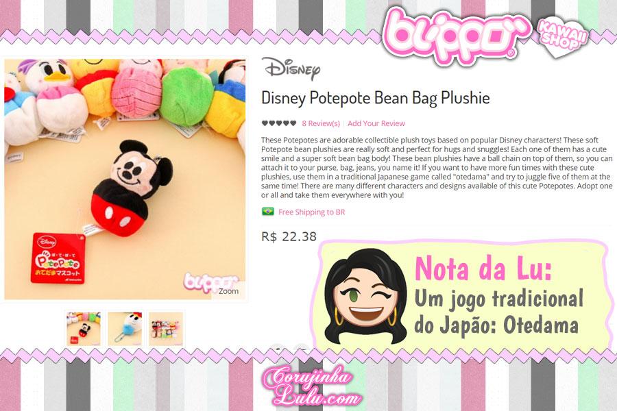 Disney Potepote Bean Bag Plushie: para brincar de Okedama, brincadeira típica japonesa