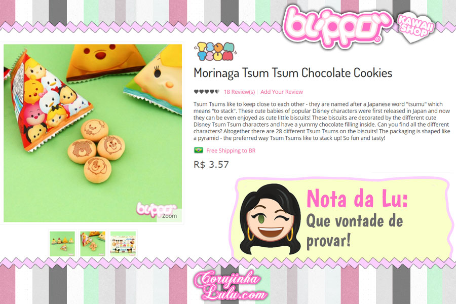 Morinaga Tsum Tsum Chocolate Cookies, biscoitinhos / bolachinhas recheadas com os personagens Disney