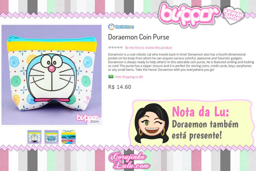 Doraemon Coin Purse, bolsinha que serve como carteira, necessaire e até estojo escolar (loja kawaii Blippo)