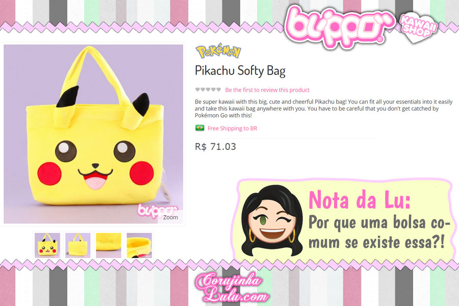 Pikachu Softy Bag, bolsa kawaii com a cara do Pokémon (loja kawaii Blippo)