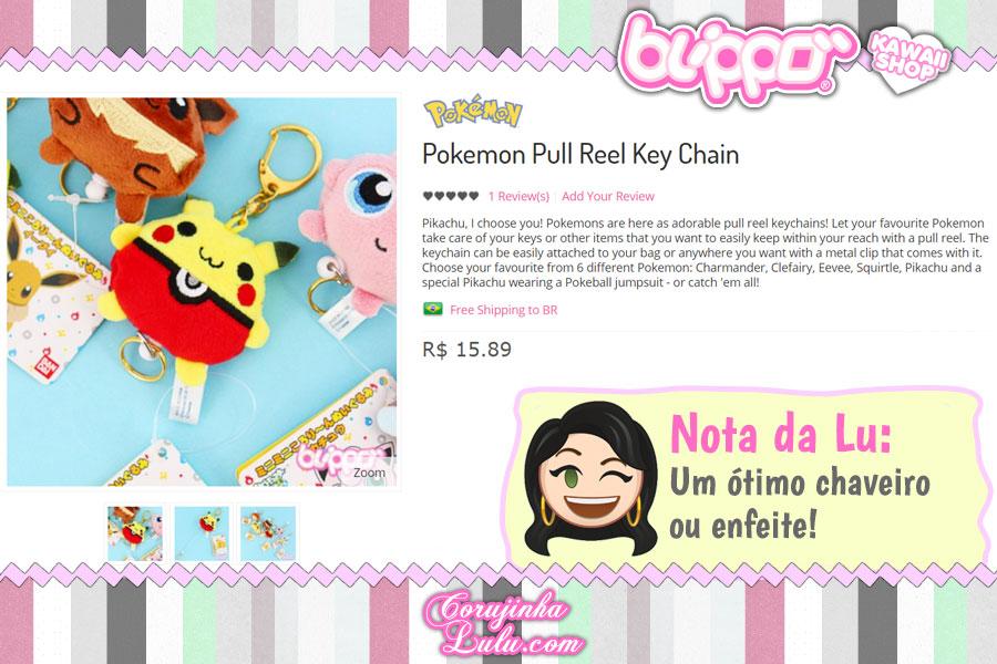 Pokémon Pull Reel Key Chain, chaveiro super fofo do Pikachu, Eevee, Jigglypuff e mais!