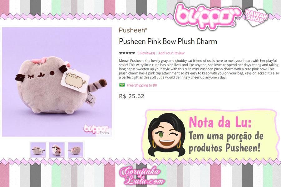Pusheen Pink Bow Plush Charm, uma pelúcia da fofíssima gatinha Pusheen para prender onde quiser