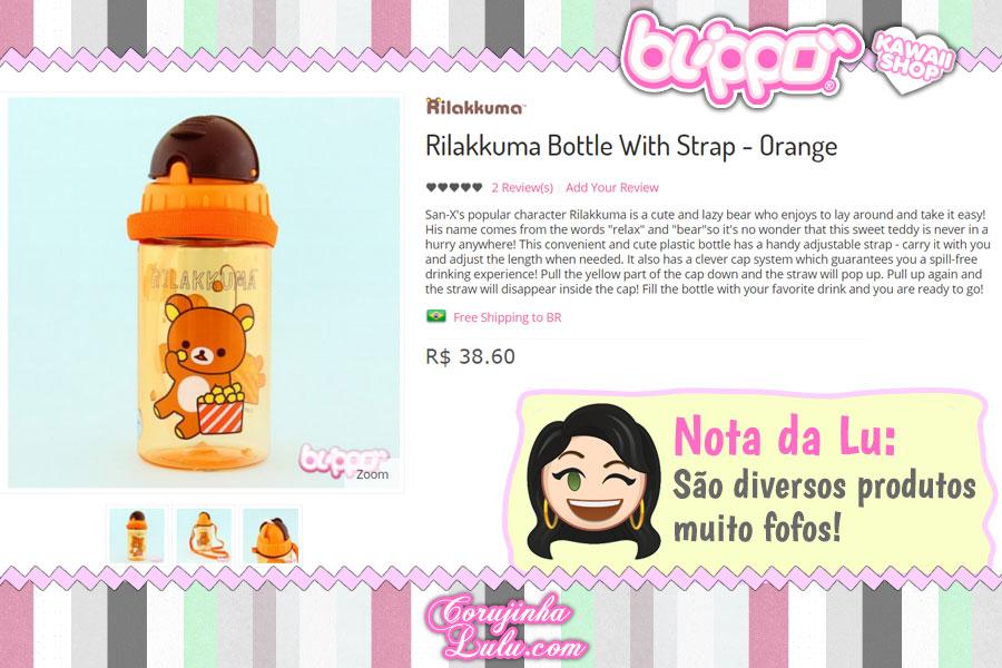 Rilakkuma Bottle with Strap, garrafinha de água com canudo desse ursinho super fofo