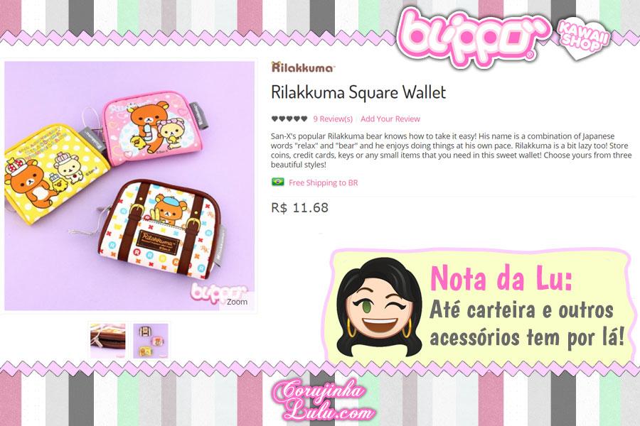 Rilakkuma Square Wallet, carteira compacta do famoso ursinho da San-X