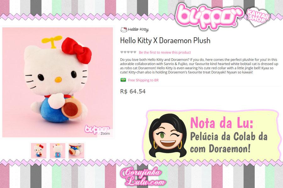 Hello Kitty X Doraemon Pluss, pelúcia da gatinha fantasiada do primeiro embaixador do anime do Japão (loja kawaii Blippo)