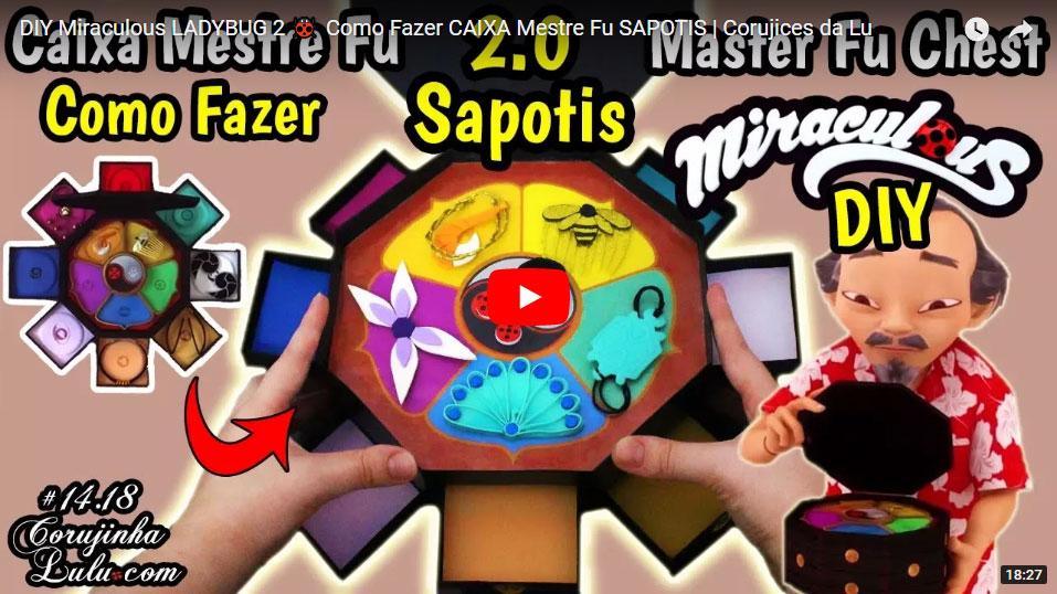 DIY Miraculous Ladybug 2 - Como Fazer Caixa de Todos os Miraculous do Mestre Fu (ep Sapotis) | Corujices da Lu