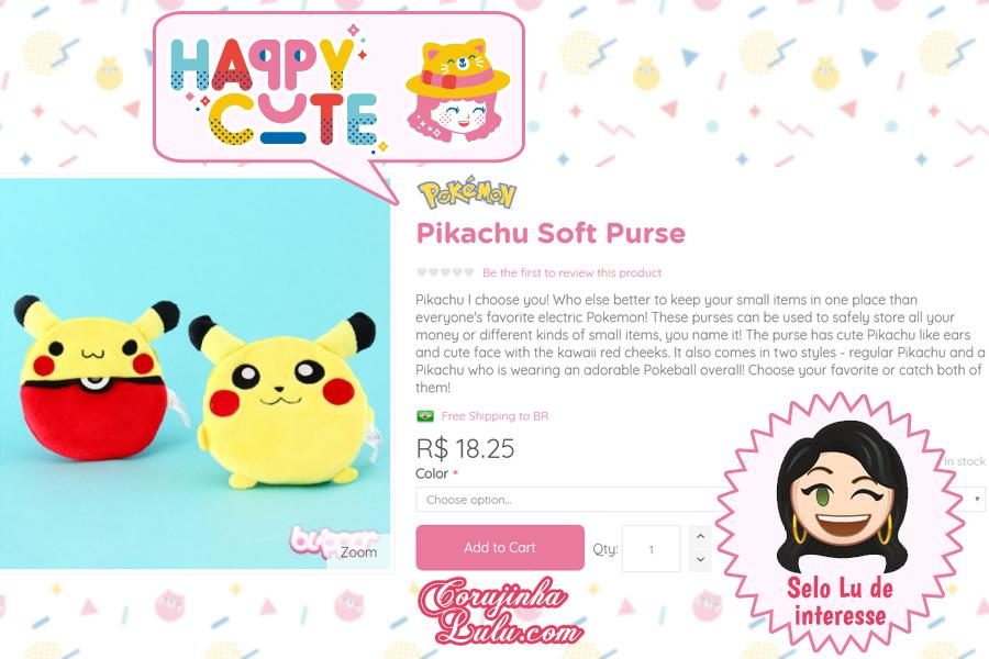 Porta treco de Pikachu de Pelúcia da Happy Cute Shop - mais uma Loja Super Kawaii com Frete Grátis | ©CorujinhaLulu.com Pokémon