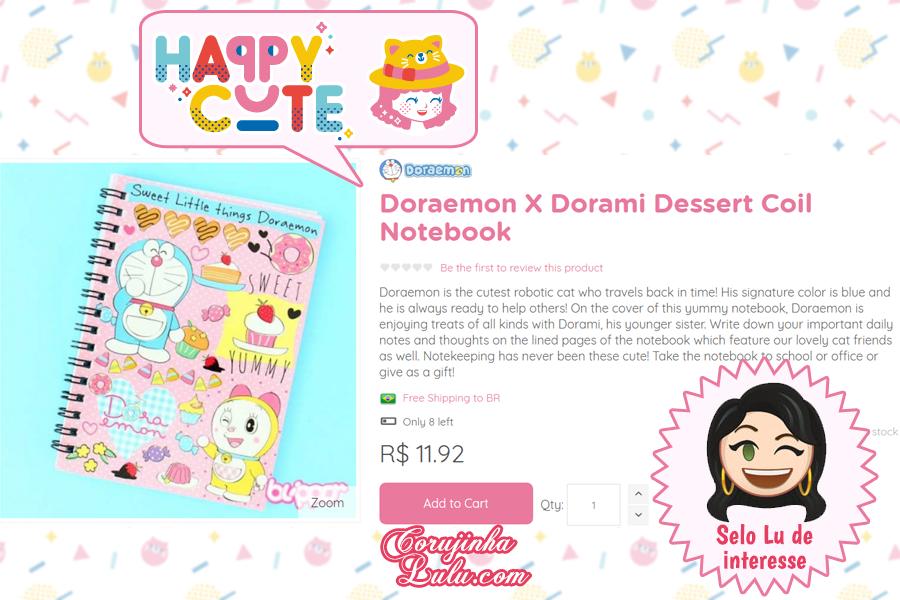 Caderno Doraemon da Happy Cute Shop - mais uma Loja Super Kawaii com Frete Grátis | ©CorujinhaLulu.com