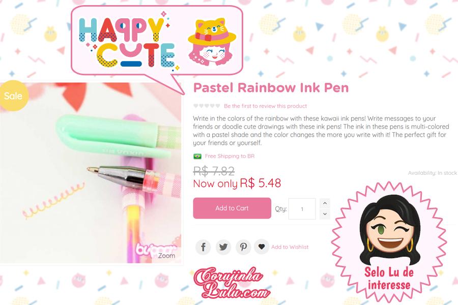 Caneta arco-íris pastel da Happy Cute Shop - mais uma Loja Super Kawaii com Frete Grátis | ©CorujinhaLulu.com
