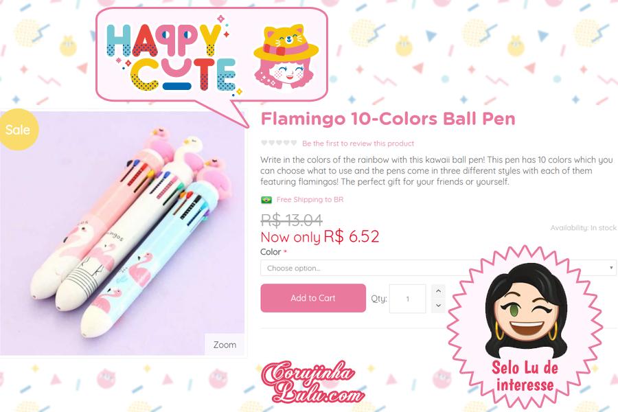 Caneta Flamingo 10 cores da Happy Cute Shop - mais uma Loja Super Kawaii com Frete Grátis | ©CorujinhaLulu.com