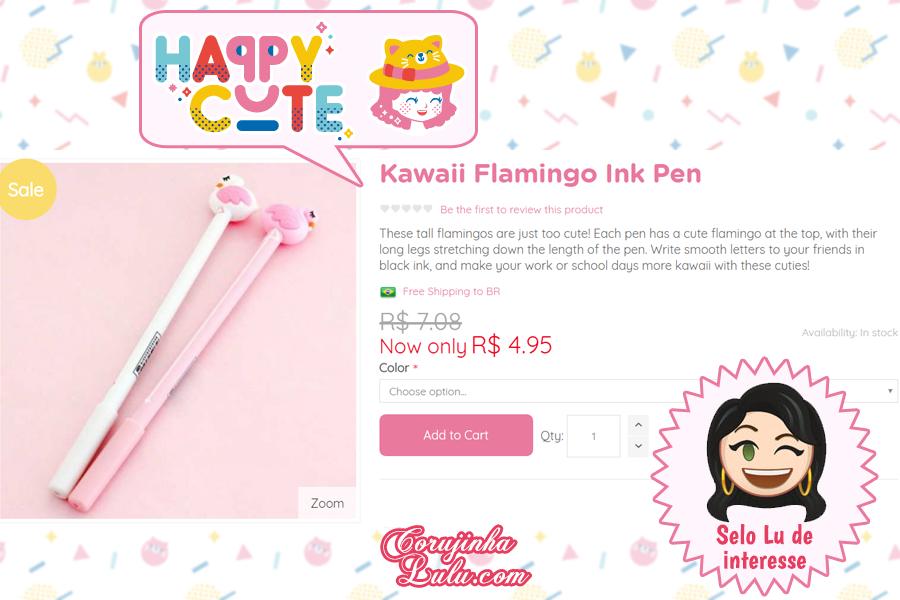 Caneta Flamingo da Happy Cute Shop - mais uma Loja Super Kawaii com Frete Grátis | ©CorujinhaLulu.com