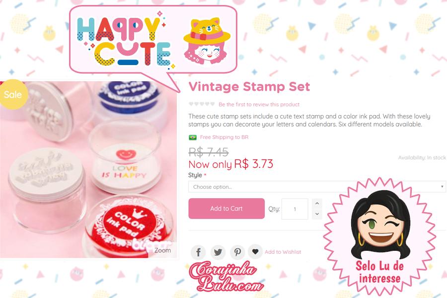 Carimbos vintage da Happy Cute Shop - mais uma Loja Super Kawaii com Frete Grátis | ©CorujinhaLulu.com