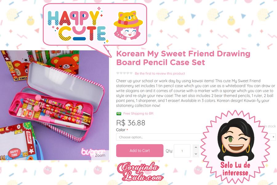Kit Estojo Escolar da Happy Cute Shop - mais uma Loja Super Kawaii com Frete Grátis | ©CorujinhaLulu.com