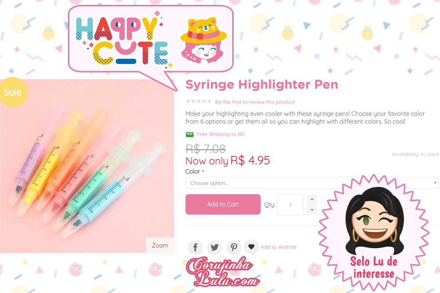 Marca de texto de seringa da Happy Cute Shop - mais uma Loja Super Kawaii com Frete Grátis | ©CorujinhaLulu.com