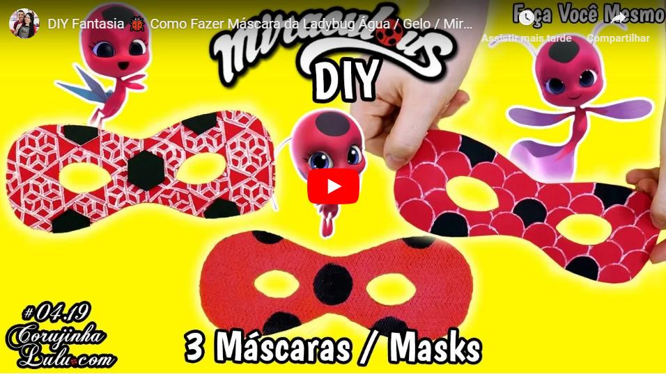 Assistir DIY Fantasia Como Fazer Máscara da Ladybug 3 temporada - Água, Gelo e Miraculous | CorujinhaLulu.com aqua ice tikki aquabug ladyice frozen frozer